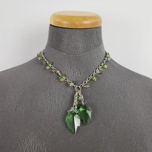 Silver & Green Glass Necklace & Earring Set